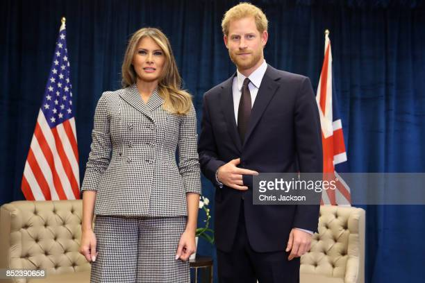 Prince Harry meets US first lady Melania Trump for the first time as she leads the USA team delegation ahead of the Invictus Games 2017 on September...