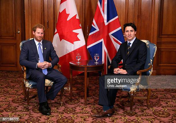 Prince Harry meets with Canadian Prime Minister Justin Trudeau as he attends a bilateral meeting at the Fairmont Royal York Hotel on May 2 2016 in...
