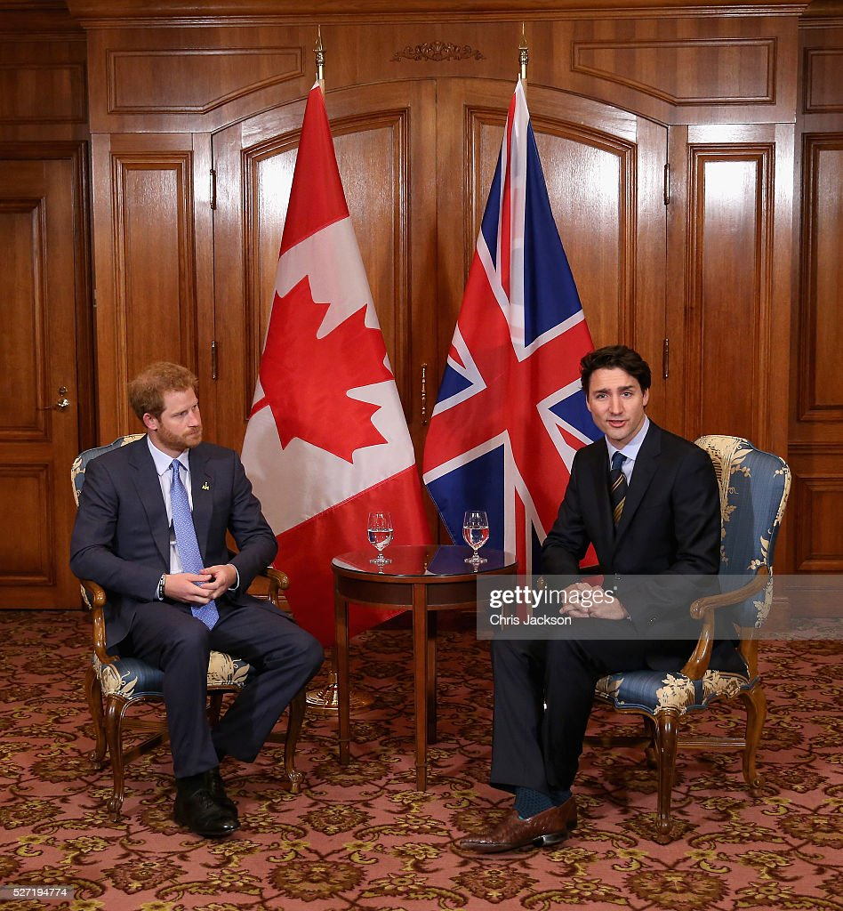 <a gi-track='captionPersonalityLinkClicked' href=/galleries/search?phrase=Prince+Harry&family=editorial&specificpeople=178173 ng-click='$event.stopPropagation()'>Prince Harry</a> meets with Canadian Prime Minister <a gi-track='captionPersonalityLinkClicked' href=/galleries/search?phrase=Justin+Trudeau&family=editorial&specificpeople=2616495 ng-click='$event.stopPropagation()'>Justin Trudeau</a> as he attends a bilateral meeting at the Fairmont Royal York Hotel on May 2, 2016 in Toronto, Canada. <a gi-track='captionPersonalityLinkClicked' href=/galleries/search?phrase=Prince+Harry&family=editorial&specificpeople=178173 ng-click='$event.stopPropagation()'>Prince Harry</a> is in Toronto for the Launch of the 2017 Toronto Invictus Games before heading down to Miami for the 2016 Invictus Games in Orlando.