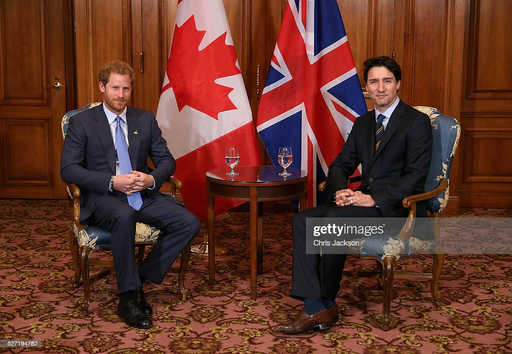 Prince Harry meets with Canadian Prime Minister Justin Trudeau as he attends a bilateral meeting at the Fairmont Royal York Hotel on May 2, 2016 in Toronto, Canada. Prince Harry is in Toronto for the Launch of the 2017 Toronto Invictus Games before heading down to Miami for the 2016 Invictus Games in Orlando.