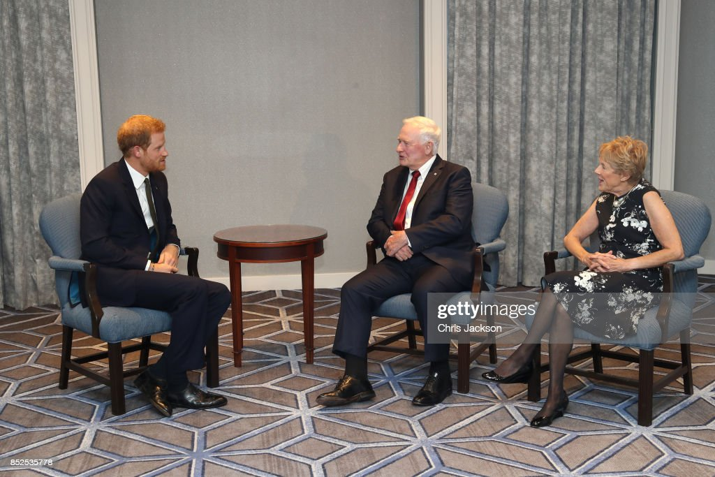 Prince Harry meets with Governor General of Canada David Johnston and wife Sharon Johnston ahead of the Invictus Games 2017 at the Fairmont Royal York hotel on September 23, 2017 in Toronto, Canada