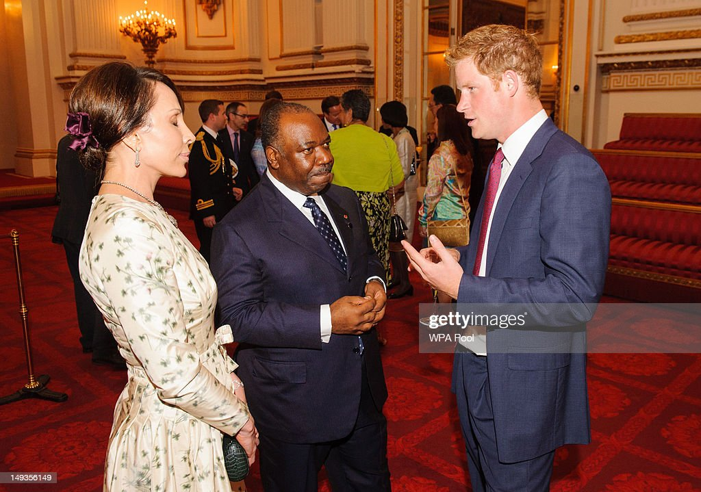 <a gi-track='captionPersonalityLinkClicked' href=/galleries/search?phrase=Prince+Harry&family=editorial&specificpeople=178173 ng-click='$event.stopPropagation()'>Prince Harry</a> meets with the President of Gabon <a gi-track='captionPersonalityLinkClicked' href=/galleries/search?phrase=Ali+Bongo+Ondimba&family=editorial&specificpeople=6166342 ng-click='$event.stopPropagation()'>Ali Bongo Ondimba</a> and his wife Sylvia during a reception at Buckingham Palace a reception for Heads of State and Government attending the Olympics Opening Ceremony on July 27, 2012 in London, England.