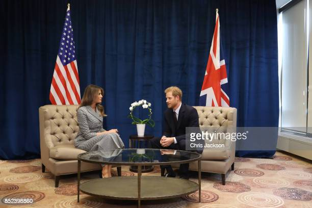 Prince Harry meets with US first lady Melania Trump for the first time as she leads the USA team delegation ahead of the Invictus Games 2017 on...