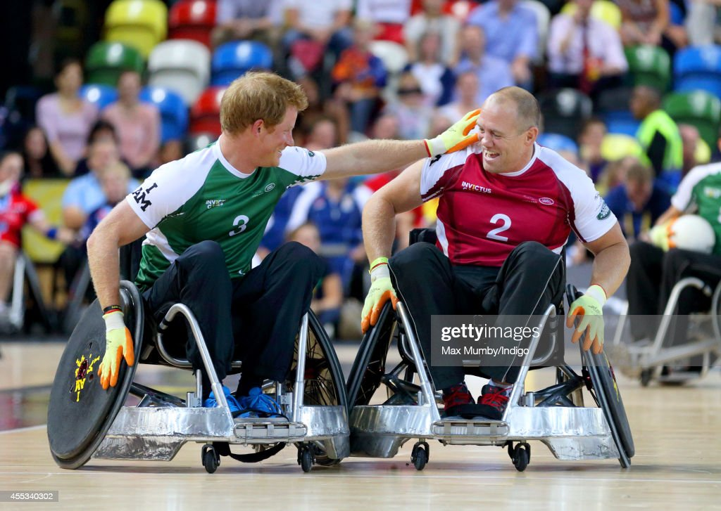 Prince Harry Mike Tindall compete in a Wheelchair Rugby exhibition match in the Copper Box Arena during the Invictus Games on September 12 2014 in...