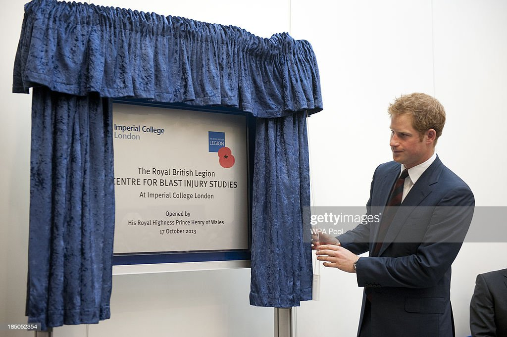 <a gi-track='captionPersonalityLinkClicked' href=/galleries/search?phrase=Prince+Harry&family=editorial&specificpeople=178173 ng-click='$event.stopPropagation()'>Prince Harry</a> officially opens the Royal British Legion Centre for Blast Injury Studies at Imperial College London on October 17 in London, England.