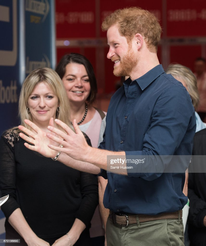 Prince Harry officially opens the Virgin Money London Marathon Expo at ExCel on April 19, 2017 in London, England.