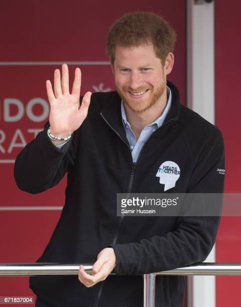 Prince Harry officially starts the 2017 Virgin Money London Marathon elite men's and mass race which includes the Heads Together team at the 2017...