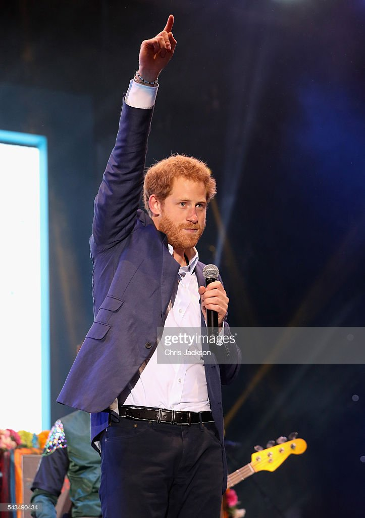 <a gi-track='captionPersonalityLinkClicked' href=/galleries/search?phrase=Prince+Harry&family=editorial&specificpeople=178173 ng-click='$event.stopPropagation()'>Prince Harry</a> on stage at the finale of the Sentebale Concert at Kensington Palace on June 28, 2016 in London, England. Sentebale was founded by <a gi-track='captionPersonalityLinkClicked' href=/galleries/search?phrase=Prince+Harry&family=editorial&specificpeople=178173 ng-click='$event.stopPropagation()'>Prince Harry</a> and Prince Seeiso of Lesotho over ten years ago. It helps the vulnerable and HIV positive children of Lesotho and Botswana.