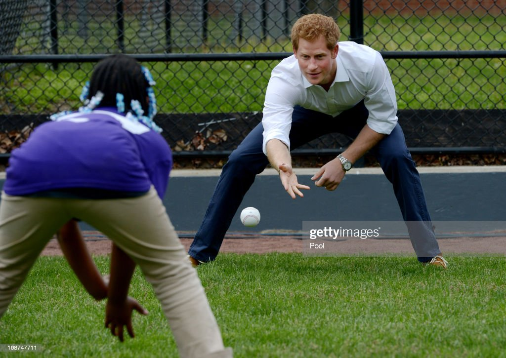 <a gi-track='captionPersonalityLinkClicked' href=/galleries/search?phrase=Prince+Harry&family=editorial&specificpeople=178173 ng-click='$event.stopPropagation()'>Prince Harry</a> participates in a baseball clinic during the launch of a new partnership between the Royal Foundation of the Duke and Duchess of Cambridge and Harlem RBI, a local community organization May 14, 2013 in the Harlem neighborhood of New York City. HRH will be undertaking engagements on behalf of charities with which the Prince is closely associated on behalf also of HM Government, with a central theme of supporting injured service personnel from the UK and US forces.