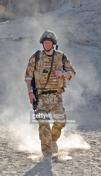 Prince Harry patrols through the deserted town of Garmisir close to FOB Delhi where he was posted on January 2 2008 in Helmand province Southern...