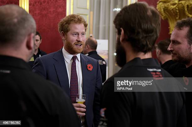 Prince Harry Patron of The Endeavour Fund attends a reception to celebrate the Endeavour challenges completed to date and outline future plans to use...