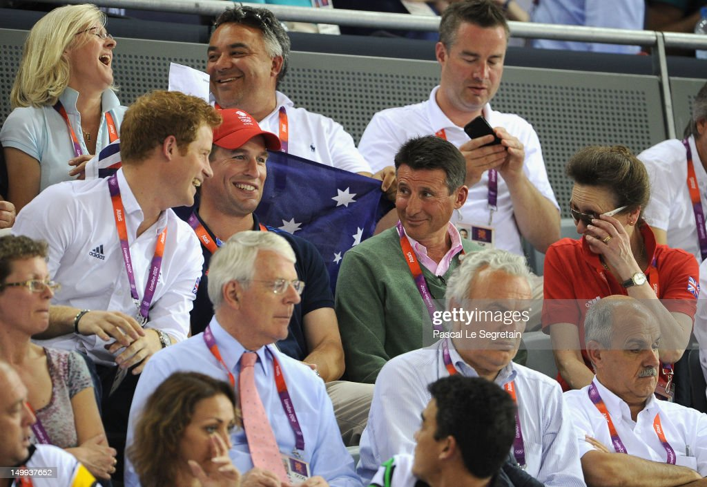 Prince Harry, Peter Phillips, LOCOG Chair Lord Sebastian Coe and Princess Anne, Princess Royal enjoy the atmosphere as they watch the Track Cycling on Day 11 of the London 2012 Olympic Games at the Velodrome on August 7, 2012 in London, England.