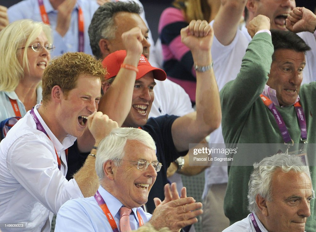 Prince Harry, Peter Phillips, LOCOG Chair Lord Sebastian Coe and former Prime Minister John Major (front) enjoy the atmosphere as they watch the Track Cycling on Day 11 of the London 2012 Olympic Games at the Velodrome on August 7, 2012 in London, England.
