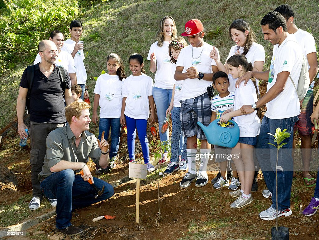 <a gi-track='captionPersonalityLinkClicked' href=/galleries/search?phrase=Prince+Harry&family=editorial&specificpeople=178173 ng-click='$event.stopPropagation()'>Prince Harry</a> plants a tree in a village during a trip to the Atlantic Rainforest on June 25, 2014 near Sao Paulo, Brazil. <a gi-track='captionPersonalityLinkClicked' href=/galleries/search?phrase=Prince+Harry&family=editorial&specificpeople=178173 ng-click='$event.stopPropagation()'>Prince Harry</a> is on a four day tour of Brazil that will be followed by two days in Chile.