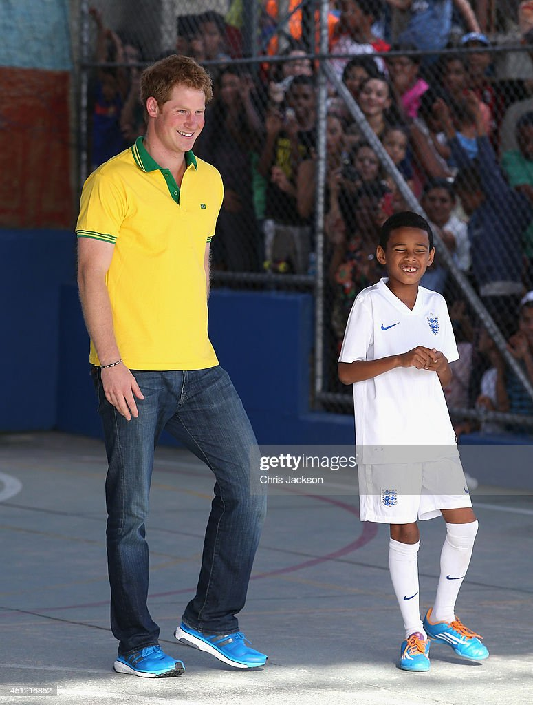 <a gi-track='captionPersonalityLinkClicked' href=/galleries/search?phrase=Prince+Harry&family=editorial&specificpeople=178173 ng-click='$event.stopPropagation()'>Prince Harry</a> plays football as he visits the ACER Charity for disadvantaged children on June 25, 2014 in Sao Paulo, Brazil. <a gi-track='captionPersonalityLinkClicked' href=/galleries/search?phrase=Prince+Harry&family=editorial&specificpeople=178173 ng-click='$event.stopPropagation()'>Prince Harry</a> is on a four day tour of Brazil that will be followed by Two days in Chile.