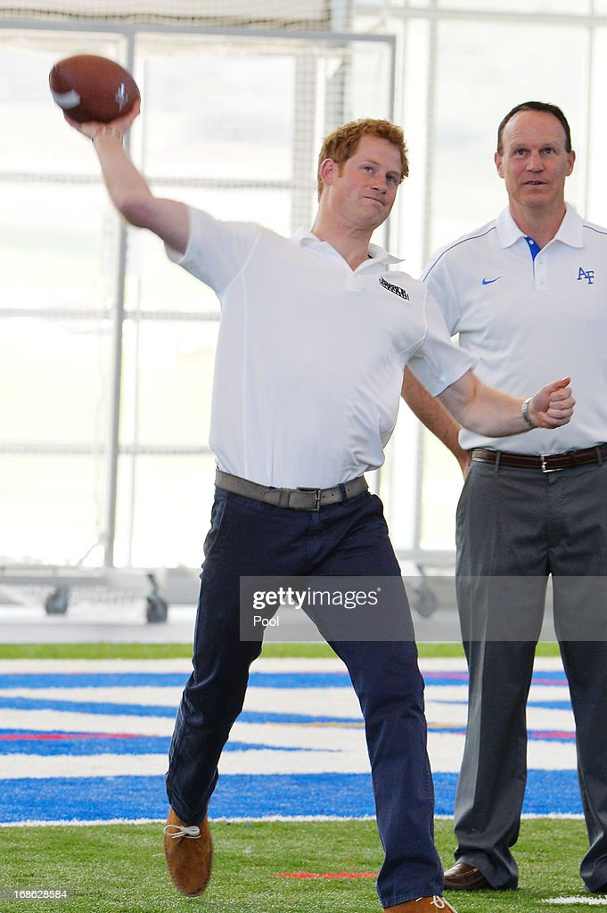 HRH Prince Harry plays football at the United States Air Force Academy's football training center during the fourth day of his visit to the United States on May 12, 2013 in Colorado Springs, Colorado. HRH will be undertaking engagements on behalf of charities with which the Prince is closely associated on behalf also of HM Government, with a central theme of supporting injured service personnel from the UK and US forces.