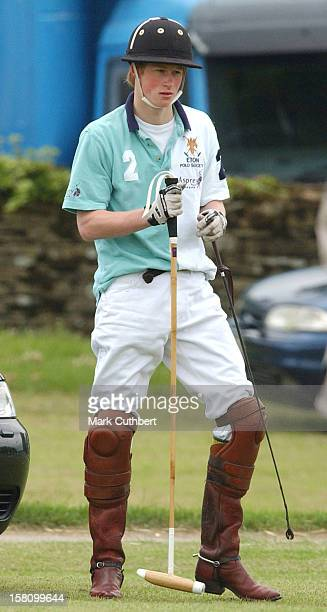 Prince Harry Plays Polo For Eton College Against Cheltenham College At The Cirencester Park Polo Club Gloucestershire