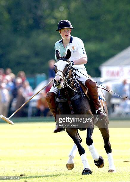 Prince Harry Plays Polo For The Eton College Team At Cirencester Park