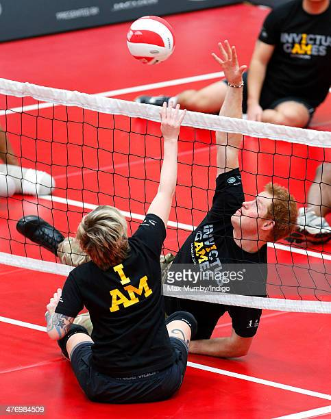 Prince Harry plays sitting Volleyball during the launch of the Invictus Games at the Copper Box Arena in the Queen Elizabeth Olympic Park on March 6...