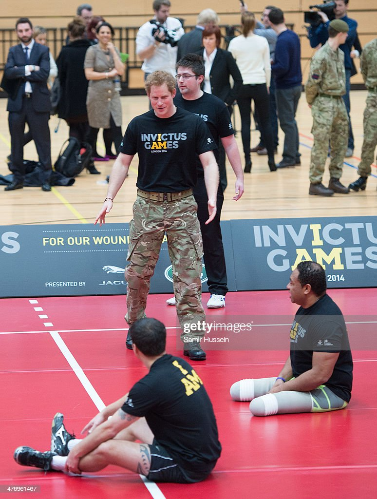 <a gi-track='captionPersonalityLinkClicked' href=/galleries/search?phrase=Prince+Harry&family=editorial&specificpeople=178173 ng-click='$event.stopPropagation()'>Prince Harry</a> plays volleyball with wounded Service personnel at the launch of the Invictus Games For Our Wounded Warriors at The Copper Box on March 6, 2014 in London, England.