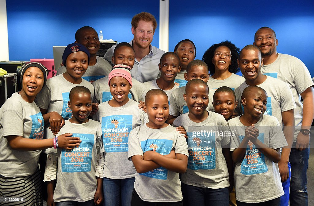 <a gi-track='captionPersonalityLinkClicked' href=/galleries/search?phrase=Prince+Harry&family=editorial&specificpeople=178173 ng-click='$event.stopPropagation()'>Prince Harry</a> poses for a photo with members of the Basotho Youth Choir during their rehearsals at the Brit School on June 27, 2016 in London, England. The Basotho Youth Choir will perform alongside Sentebale Ambassador Joss Stone at tomorrow's Sentebale Concert at Kensington Palace, headlined by Coldplay. The choir members have all been supported by Sentebale's Secondary School Bursaries Progamme or Care for Vulnerable Children Programme. The Bursaries Programme covers the cost of school fees, uniforms and books for some of Lesotho's most disadvantaged children.