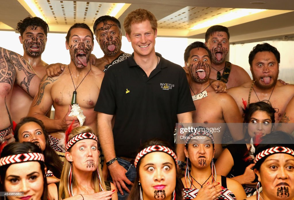 <a gi-track='captionPersonalityLinkClicked' href=/galleries/search?phrase=Prince+Harry&family=editorial&specificpeople=178173 ng-click='$event.stopPropagation()'>Prince Harry</a> poses with Ngati Ranana Maori Dancers as he meets the New Zealand Invictus Team at New Zealand House on September 8, 2014 in London, England. The International sports event for 'wounded warriors', presented by Jaguar Land Rover, is just days away with limited last-minute tickets available at www.invictusgames.org