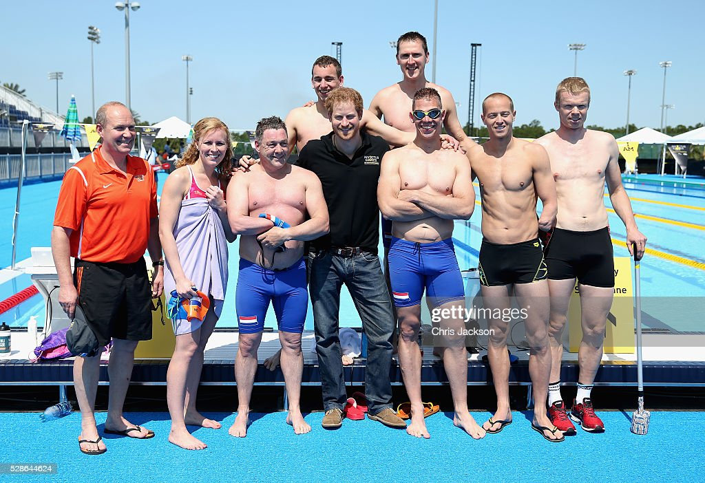 Prince Harry poses with swimming athletes ahead of Invictus Games Orlando 2016 at ESPN Wide World of Sports on May 6, 2016 in Orlando, Florida. Prince Harry, patron of the Invictus Games Foundation is in Orlando ahead of the opening of Invictus Games which will open on Sunday. The Invictus Games is the only International sporting event for wounded, injured and sick servicemen and women. Started in 2014 by Prince Harry, the Invictus Games uses the power of Sport to inspire recovery and support rehabilitation.