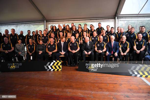 Prince Harry poses with the Australian Invictus Squad as he attends the Official Launch of Invictus Games Sydney 2018 at Admiralty House on June 7...