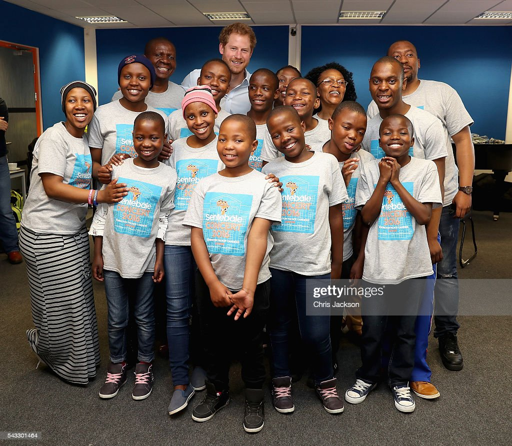 <a gi-track='captionPersonalityLinkClicked' href=/galleries/search?phrase=Prince+Harry&family=editorial&specificpeople=178173 ng-click='$event.stopPropagation()'>Prince Harry</a> poses with the Basotho Youth Choir, made up of six boys and six girls, aged between 7 and 19 years old at the Brit School on June 27, 2016 in London, England. The Basotho Youth Choir will perform alongside Sentebale Ambassador Joss Stone at tommorow's Sentebale Concert at Kensington Palace, headlined by Coldplay. The choir members have all been supported by Sentebale's Secondary School Bursaries Progamme or Care for Vulnerable Children Programme. The Bursaries Programme covers the cost of school fees, uniforms and books for some of Lesotho's most disadvantaged children.
