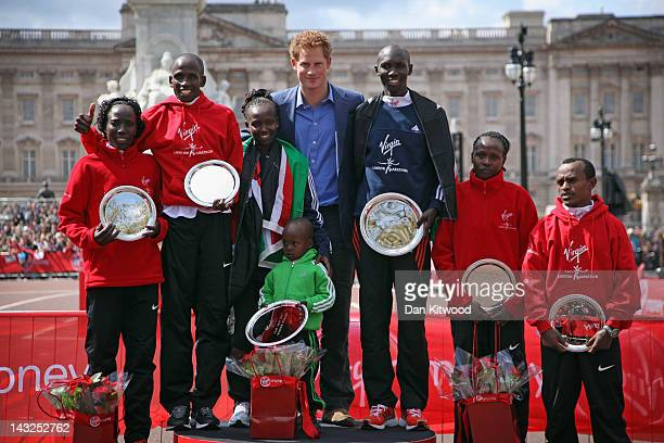 Prince Harry poses with the London Marathon winners Edna Kiplagat of Kenya Martin Lel of Kenya Mary Keitany of Kenya Wilson Kipsang of Kenya Priscah...