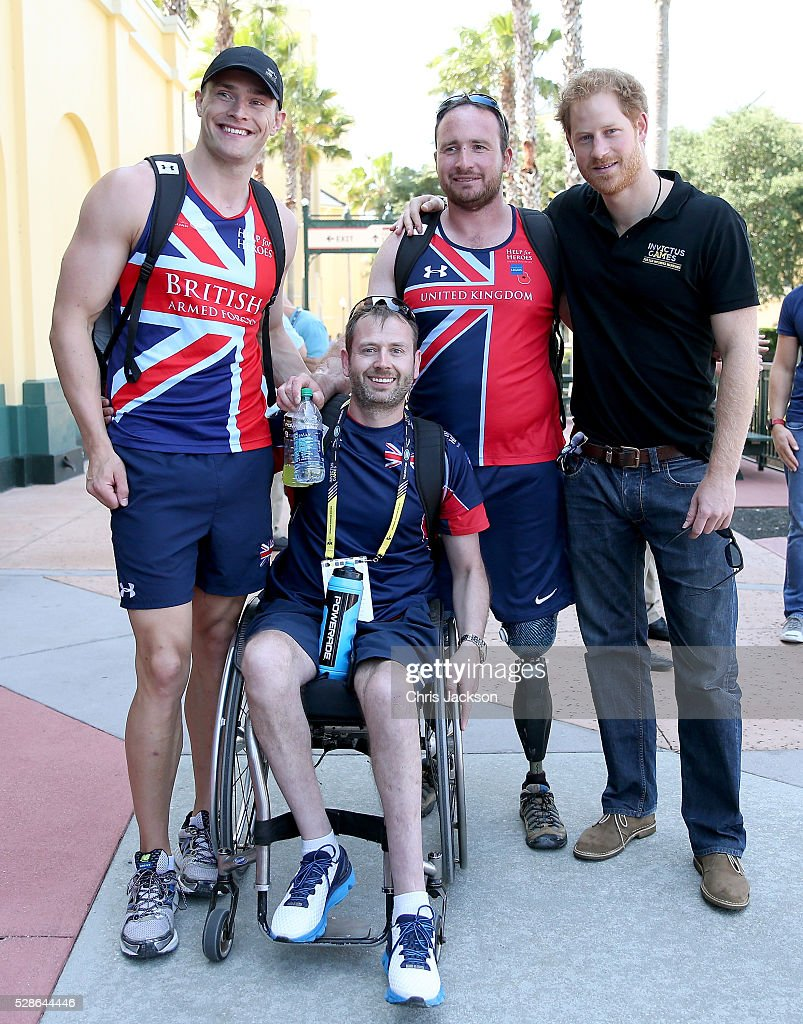 Prince Harry poses with UK Armed Forces Team members ahead of Invictus Games Orlando 2016 at ESPN Wide World of Sports on May 6, 2016 in Orlando, Florida. Prince Harry, patron of the Invictus Games Foundation is in Orlando ahead of the opening of Invictus Games which will open on Sunday. The Invictus Games is the only International sporting event for wounded, injured and sick servicemen and women. Started in 2014 by Prince Harry, the Invictus Games uses the power of Sport to inspire recovery and support rehabilitation.