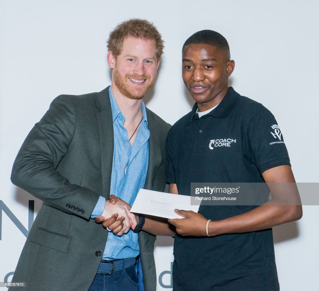 Prince Harry presents Coach Core graduates with their certificates during an official visit to Full Effect & Coach Core on February 1, 2017 in Nottingham, England. Full Effect and Coach Core are projects supported by The Royal Foundation to improve opportunities for young people.