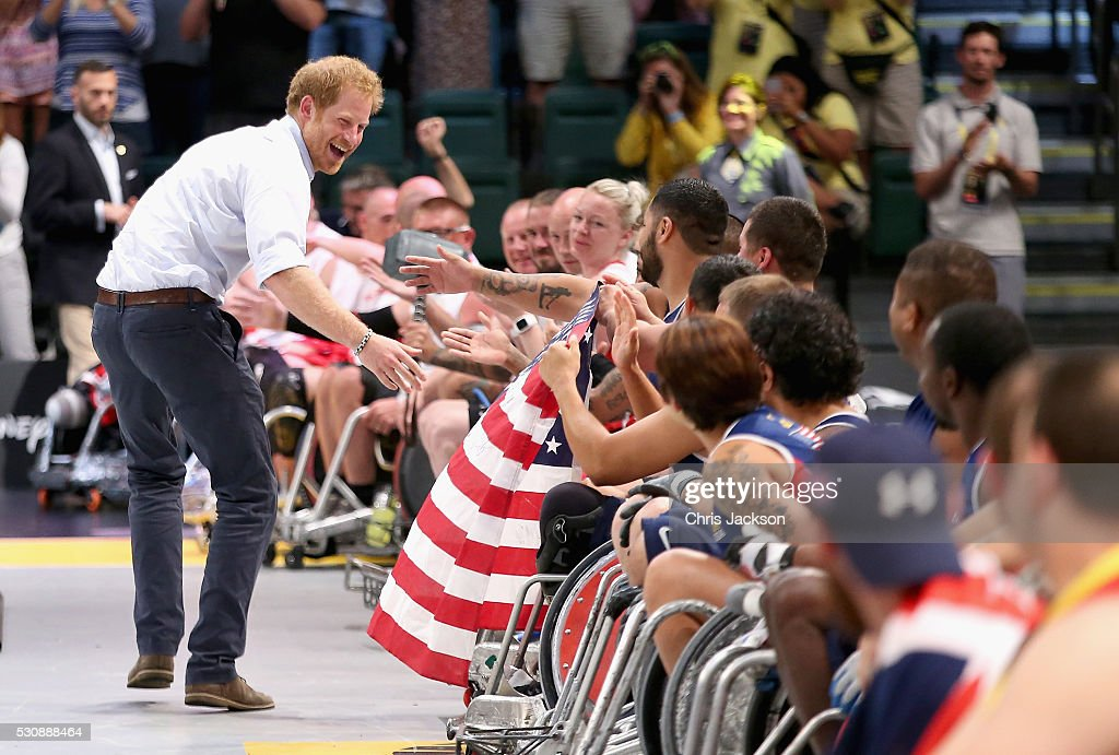 Prince Harry presents medals to the USA Wheelchair Rugby team after they beat Denmark in the wheelchair rugby finals at the Invictus Games Orlando 2016 at ESPN Wide World of Sports on May 10, 2016 in Orlando, Florida. Prince Harry, patron of the Invictus Games Foundation is in Orlando for the Invictus Games 2016. The Invictus Games is the only International sporting event for wounded, injured and sick servicemen and women. Started in 2014 by Prince Harry the Invictus Games uses the power of Sport to inspire recovery and support rehabilitation.
