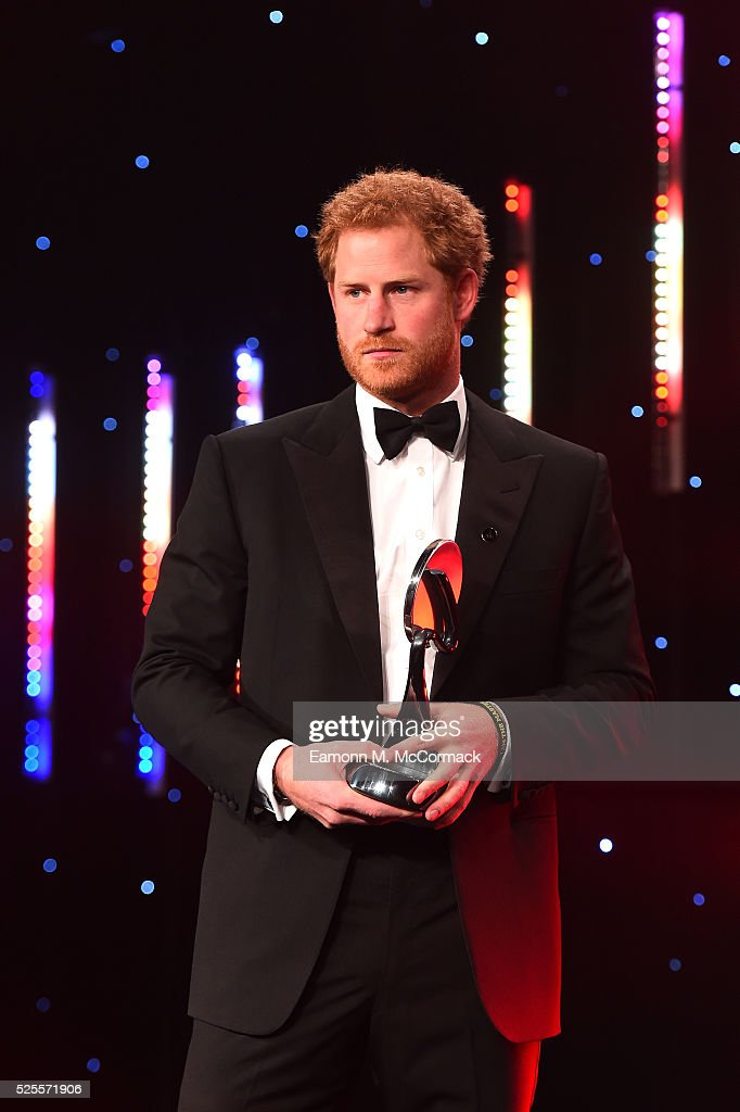 Prince Harry presents The Coutts Lifetime Achievement award to Judy Murray and son Jamie at the BT Sport Industry Awards 2016 at Battersea Evolution on April 28, 2016 in London, England. The BT Sport Industry Awards is the most prestigious commercial sports awards ceremony in Europe, where over 1750 of the industry's key decision-makers mix with high profile sporting celebrities for the most important networking occasion in the sport business calendar.