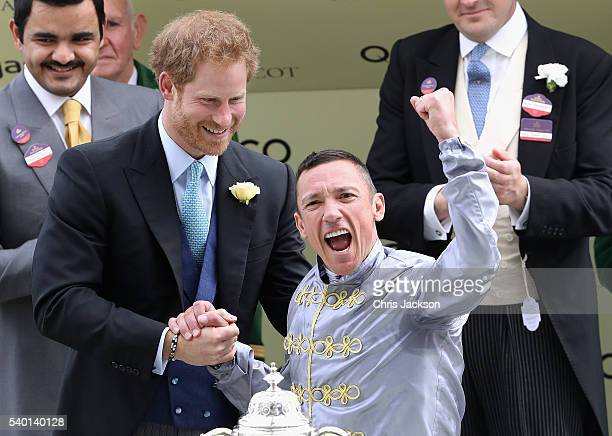 Prince Harry presents the St James Palace Stakes to Frankie Dettori at Royal Ascot 2016 at Ascot Racecourse on June 14 2016 in Ascot England The cake...
