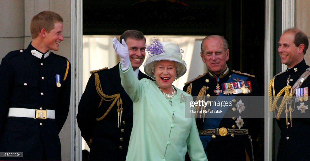 Prince Harry, Prince Andrew, Duke of York, HM Queen Elizabeth II, The Queen, Prince Philip, Duke of Edinburgh and Prince Edward, Earl of Wessex, watch the flypast over The Mall of British and US World War II aircraft from the Buckingham Palace balcony on National Commemoration Day July 10, 2005 in London. Poppies were dropped from the Lancaster Bomber of the Battle Of Britain Memorial Flight as part of the flypast.