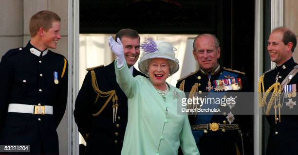 Prince Harry Prince Andrew Duke of York HM Queen Elizabeth II The Queen Prince Philip Duke of Edinburgh and Prince Edward Earl of Wessex watch the...