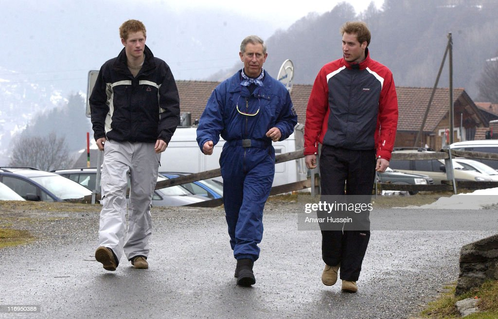 Prince Harry Prince Charles and Prince William during HRH Prince Charles and Family Photocall During Ski Break at Klosters in Klosters Switzerland