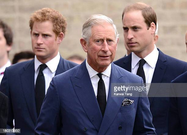 Prince Harry Prince Charles Prince of Wales and Prince William Duke of Cambridge attend a Requiem Mass for Hugh van Cutsem who passed away on...