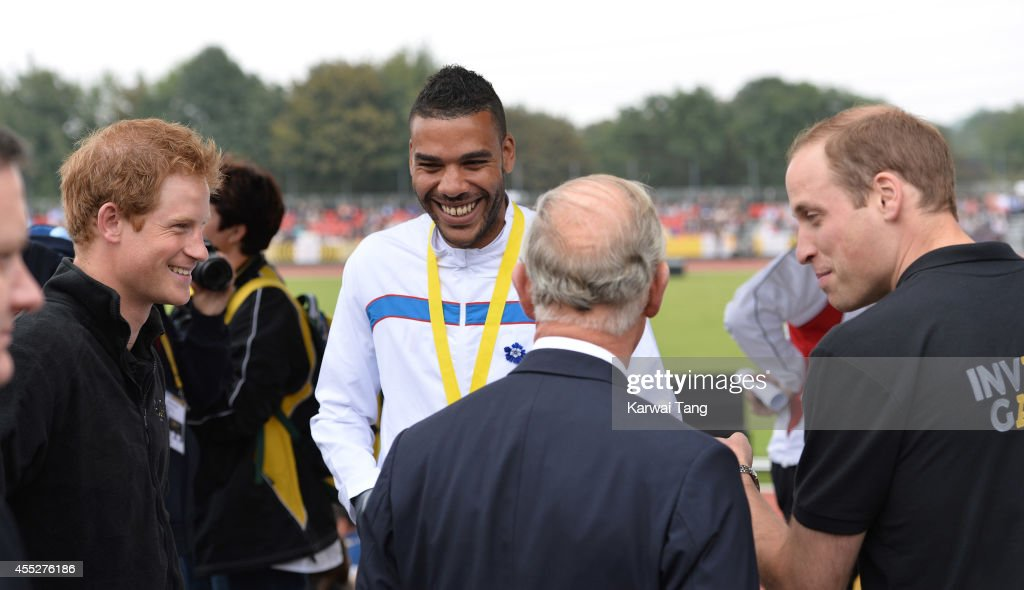 Prince Harry, Prince Charles, Prince of Wales and Prince William, Duke of Cambridge attend the athletics during the Invictus Games at Lea Valley Athletics Centre on September 11, 2014 in London, England.