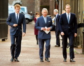 Prince Harry Prince Charles Prince of Wales and Prince William Duke of Cambridge arrive at the Illegal Wildlife Trade Conference at Lancaster House...