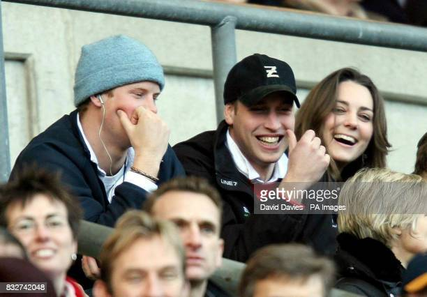Prince Harry Prince William and William's girlfriend Kate Middleton enjoy the rugby as England play Italy in the RBS Six Nations Championship at...