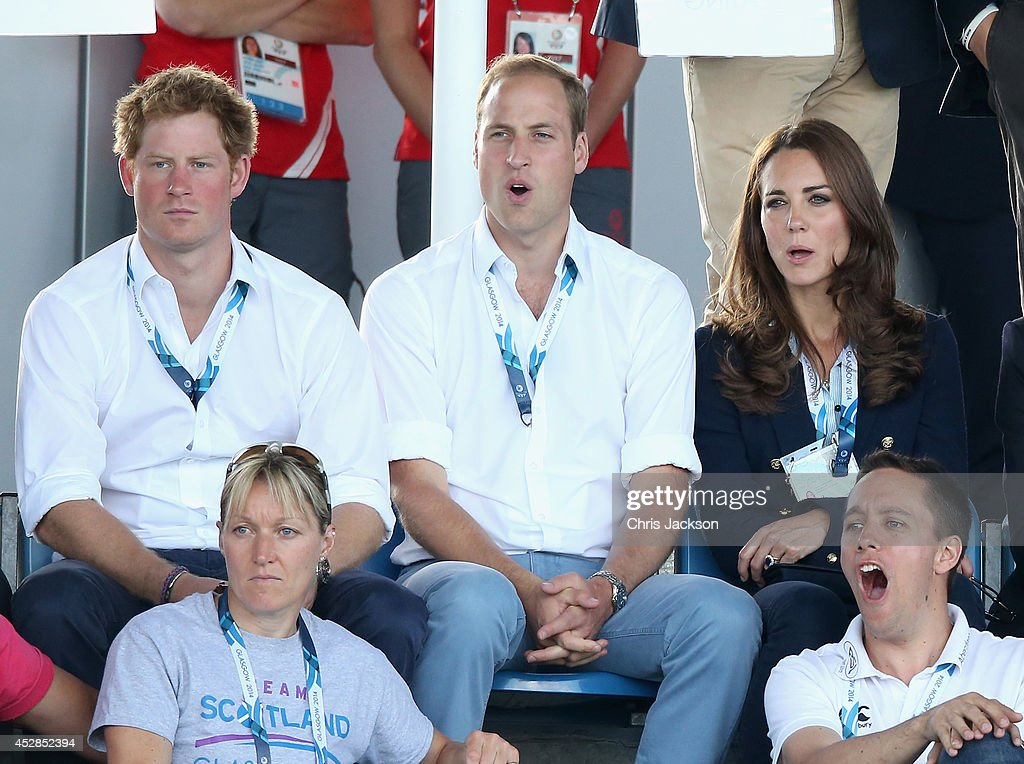 <a gi-track='captionPersonalityLinkClicked' href=/galleries/search?phrase=Prince+Harry&family=editorial&specificpeople=178173 ng-click='$event.stopPropagation()'>Prince Harry</a>, <a gi-track='captionPersonalityLinkClicked' href=/galleries/search?phrase=Prince+William&family=editorial&specificpeople=178205 ng-click='$event.stopPropagation()'>Prince William</a>, Duke of Cambridge and <a gi-track='captionPersonalityLinkClicked' href=/galleries/search?phrase=Catherine+-+Duchess+of+Cambridge&family=editorial&specificpeople=542588 ng-click='$event.stopPropagation()'>Catherine</a>, Duchess of Cambridge watch Scotland Play Wales at Hockey at the Glasgow National Hockey Centre during the 20th Commonwealth games on July 28, 2014 in Glasgow, Scotland.