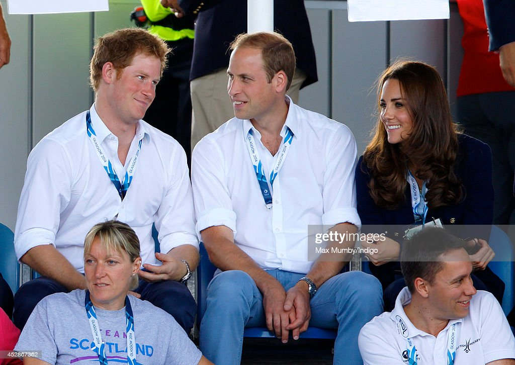 Prince Harry, Prince William, Duke of Cambridge and Catherine, Duchess of Cambridge watch the Wales v Scotland Hockey match at the Glasgow National Hockey Centre during the 20th Commonwealth Games on July 28, 2014 in Glasgow, Scotland.