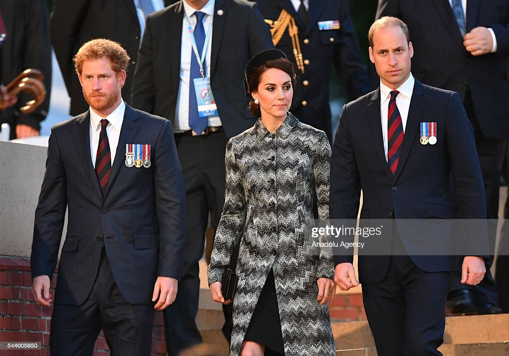 Prince Harry, Prince William, Duke of Cambridge and Catherine, Duchess of Cambridge take part in a vigil at Thiepval Memorial to the Missing of the Somme during Somme Centenary Commemorations on June 30, 2016 in Thiepval, France.