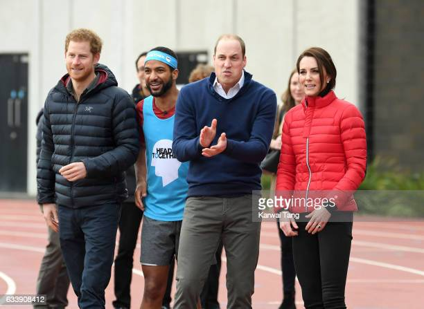 Prince Harry Prince William Duke of Cambridge and Catherine Duchess of Cambridge attend a training day for the Heads Together team for the London...