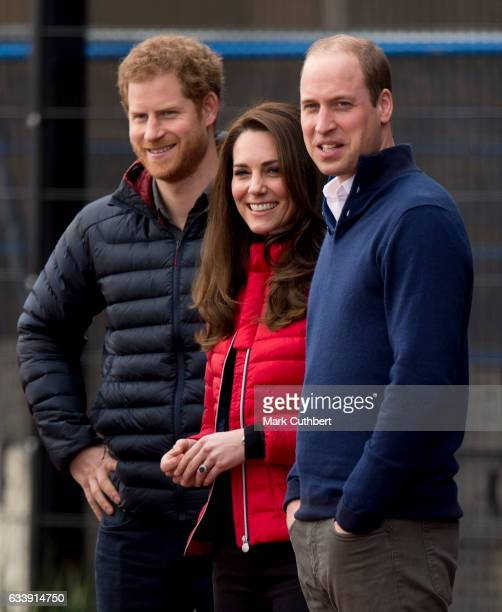 Prince Harry Prince William Duke of Cambridge and Catherine Duchess of Cambridge during a training day for the Heads Together team for the London...