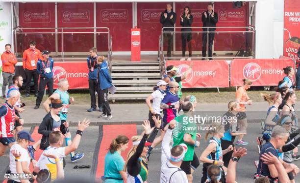 Prince Harry Prince William Duke of Cambridge and Catherine Duchess of Cambridge officially start the 2017 Virgin Money London Marathon elite men's...