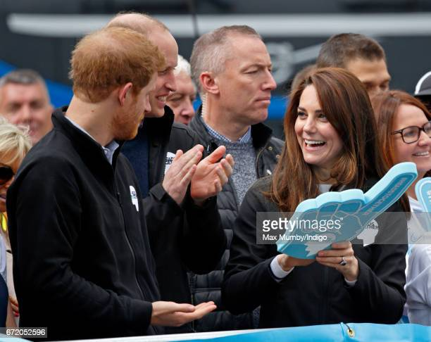 Prince Harry Prince William Duke of Cambridge and Catherine Duchess of Cambridge cheer on runners talking part in the 2017 Virgin Money London...