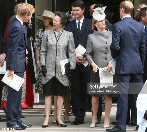 Prince Harry Princess Anne ViceAdmiral Timothy Laurence Sophie Countess of Wessex and Prince William after the Service of Thanksgiving for the life...